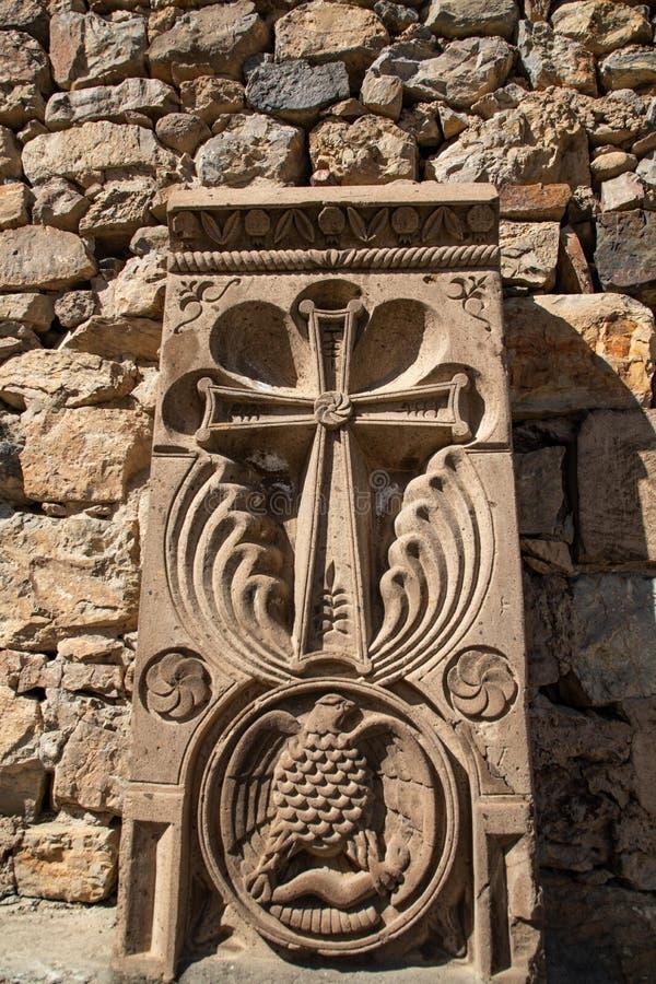 Σταυρός που χαράζεται χριστιανικός στην πέτρα στην Αρμενία στοκ εικόνες