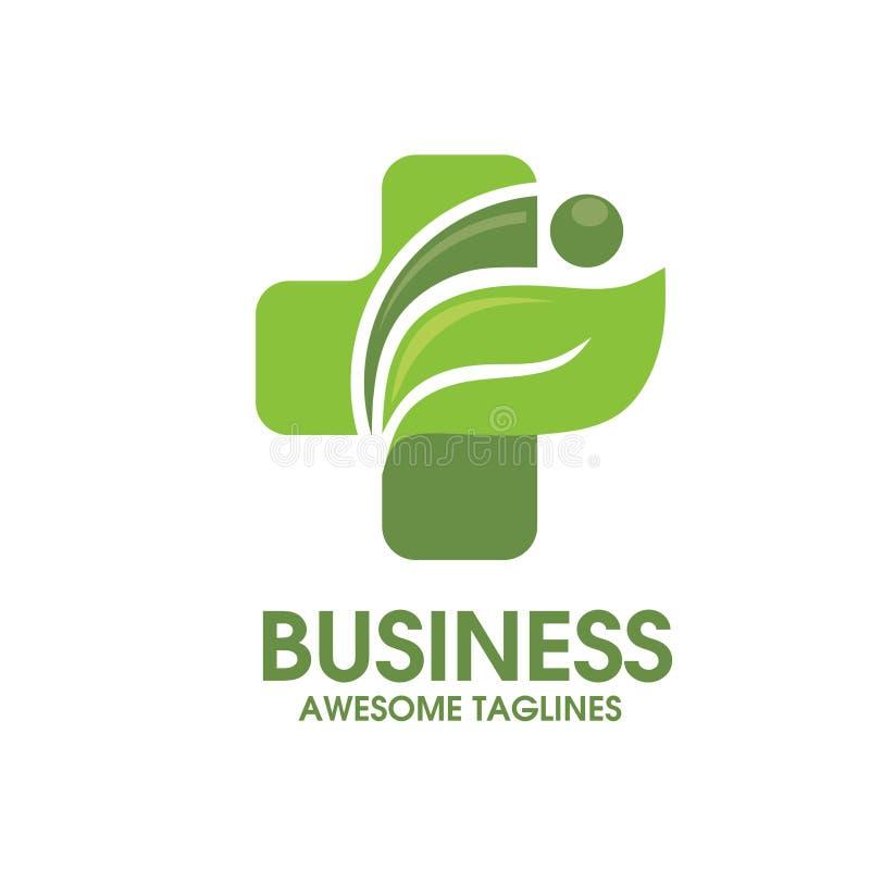 Σταυρός υγείας με το πράσινο φύλλο ελεύθερη απεικόνιση δικαιώματος