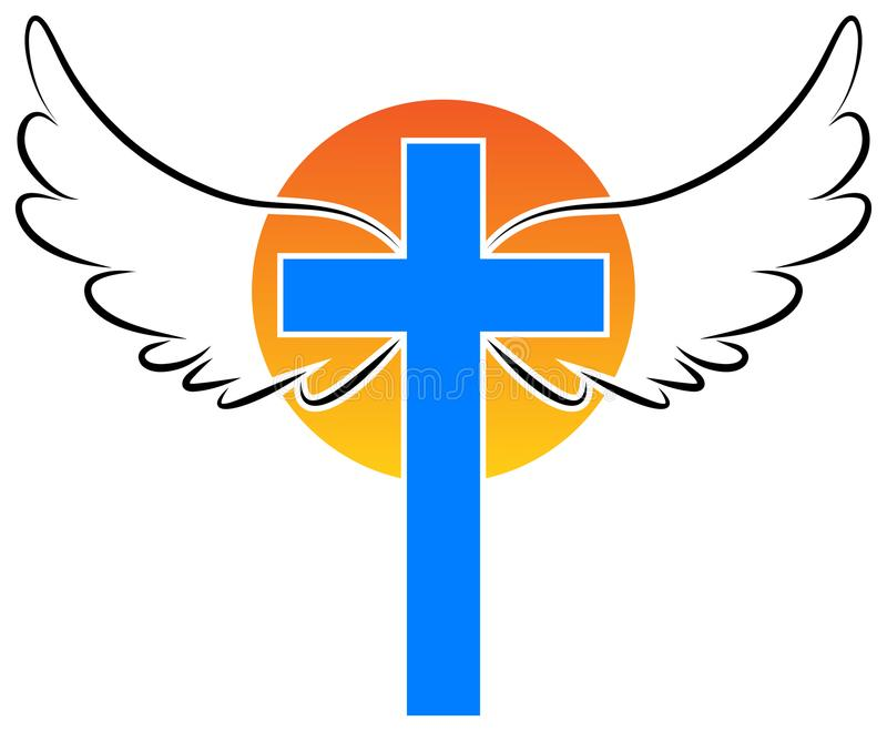 Σταυρός χριστιανισμού με τα φτερά αγγέλου ελεύθερη απεικόνιση δικαιώματος