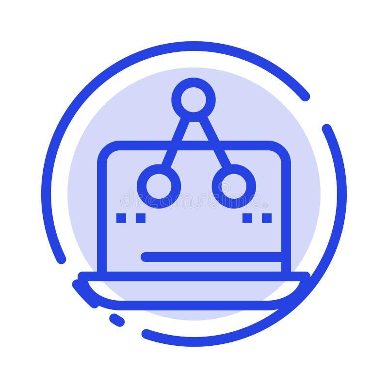 Σταυρός, ψηφιακός, μάρκετινγκ, μέτρηση, μπλε εικονίδιο γραμμών διαστιγμένων γραμμών πλατφορμών απεικόνιση αποθεμάτων