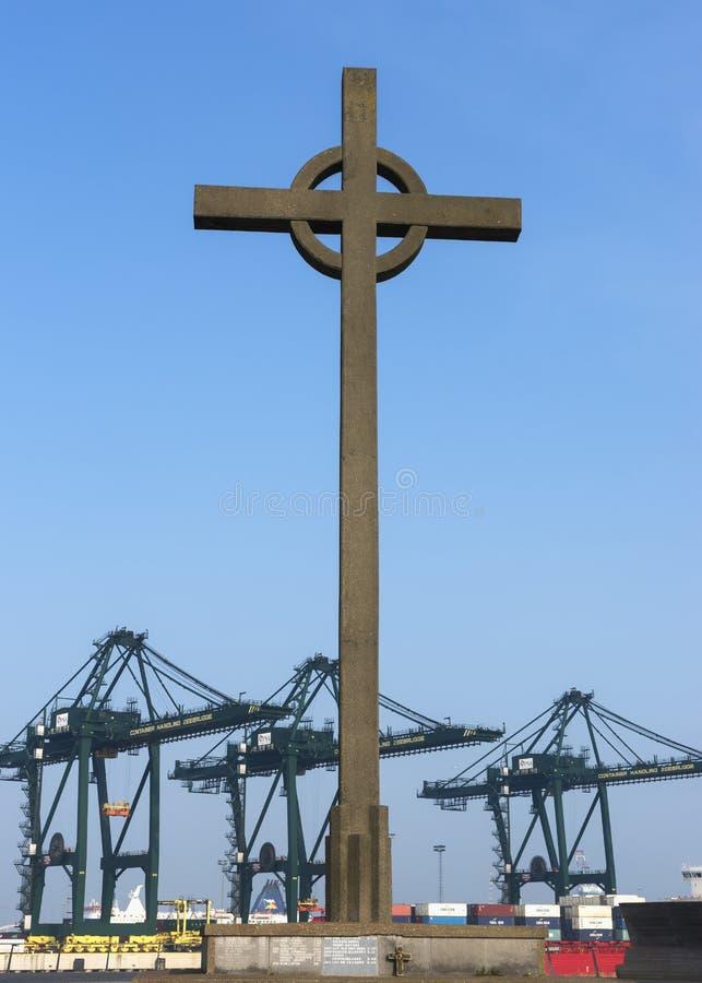 Σταυρός Fischermen στο λιμένα zeebrugge-Seabruges. στοκ φωτογραφία