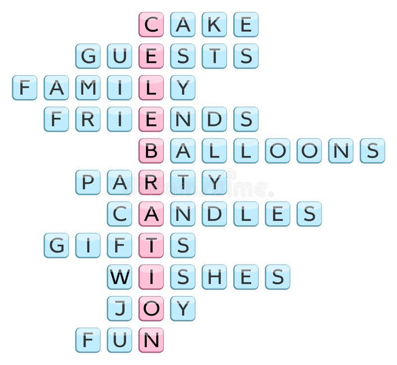 Σταυρόλεξο για τις εορτασμός-σχετικές με το λέξεις απεικόνιση αποθεμάτων