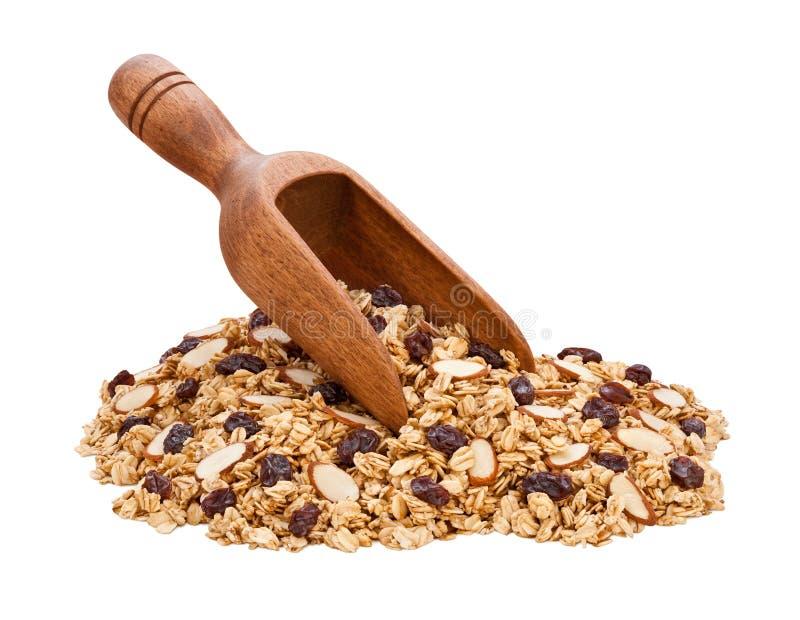 σταφίδες granola αμυγδάλων στοκ φωτογραφία