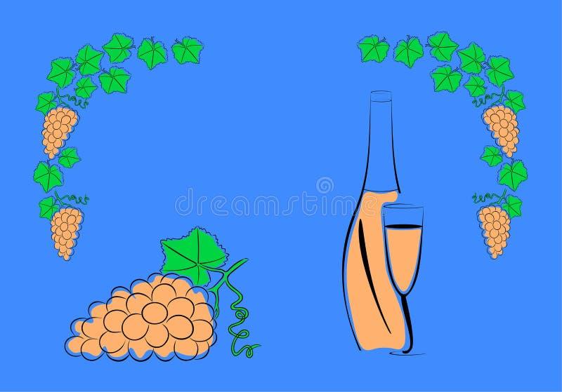 Σταφύλια και ένα μπουκάλι του κρασιού ελεύθερη απεικόνιση δικαιώματος