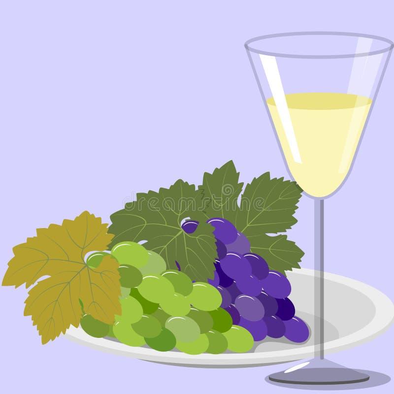 Σταφύλια στο πιάτο και το ποτήρι του κρασιού ελεύθερη απεικόνιση δικαιώματος