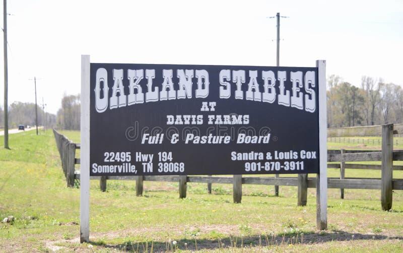 Σταύλοι του Όουκλαντ στα αγροκτήματα του Νταίηβις, Όουκλαντ, TN στοκ εικόνες