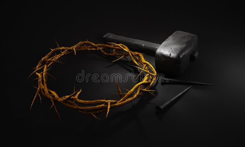 Σταύρωση του Ιησούς Χριστού - σταυρός με τα καρφιά σφυριών και το χρυσό Γ διανυσματική απεικόνιση