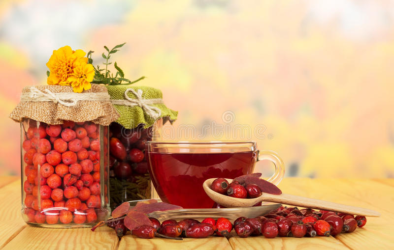 Στα βάζα γυαλιού τα μούρα σορβιών, άγρια αυξήθηκαν και το τσάι φλυτζανιών στοκ εικόνα