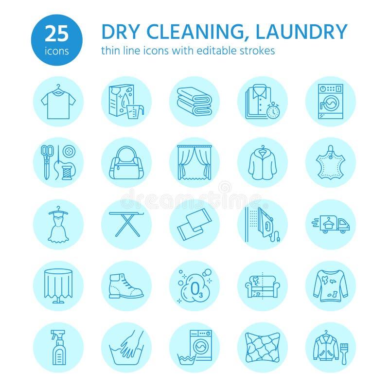 Στεγνός καθαρισμός, εικονίδια γραμμών πλυντηρίων Εξοπλισμός υπηρεσιών πλυντηρίων, πλυντήριο, ντύνοντας παπούτσι και leaher επισκε διανυσματική απεικόνιση