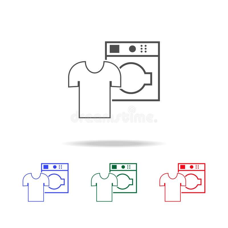 στεγνός καθαρισμός του άσπρου εικονιδίου λινού Στοιχεία της πλύσης στα πολυ χρωματισμένα εικονίδια Γραφικό εικονίδιο σχεδίου εξαι ελεύθερη απεικόνιση δικαιώματος