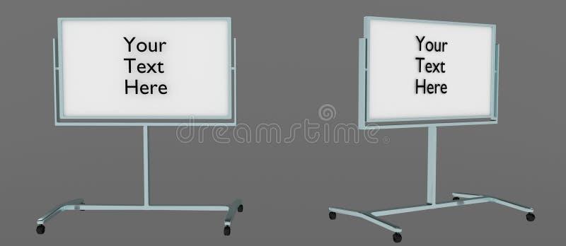 Στεμένος whiteboard από δύο γωνίες με ` το κείμενό σας που γράφεται εδώ ` σε το, εύκολος να εκδώσει τρισδιάστατη, απομονωμένος στ διανυσματική απεικόνιση