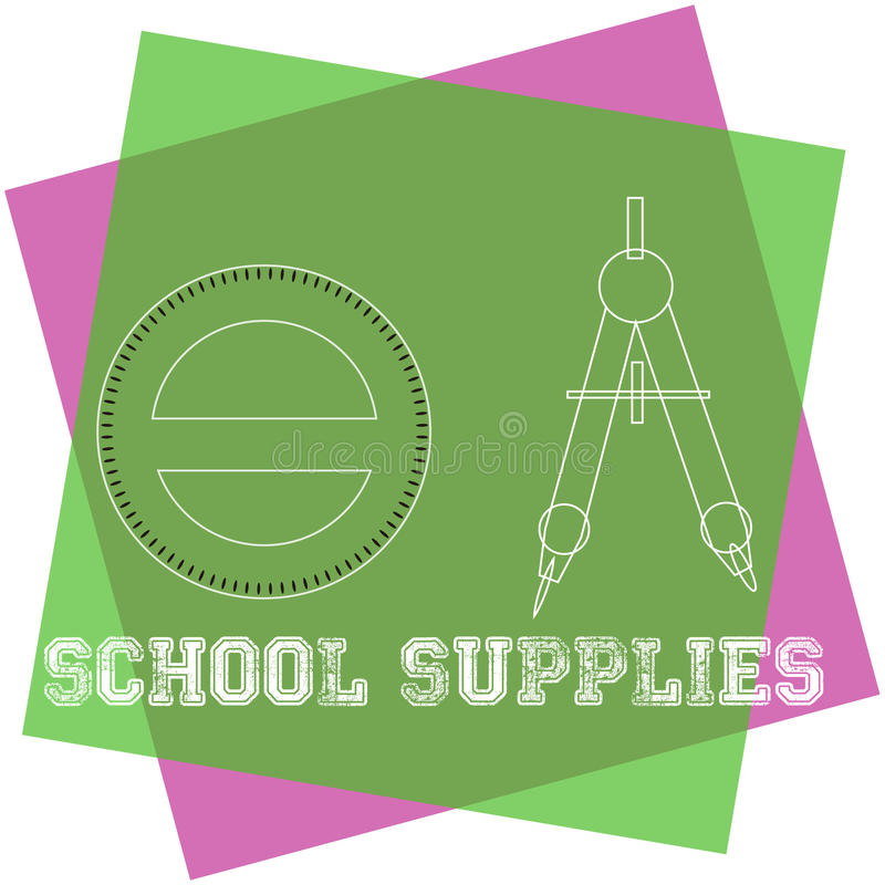 στενές σχολικές προμήθειες μοιρογνωμόνιων πυξίδων επάνω διανυσματική απεικόνιση