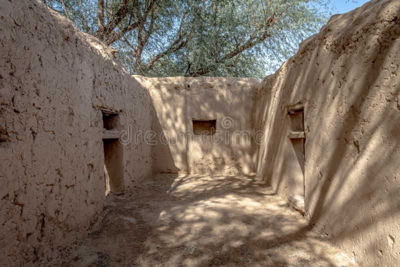 Στενή άποψη του σπιτιού Al Dahiri στην όαση Al Qattara, Al Ain στοκ εικόνα