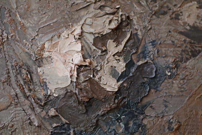 Στενή επάνω σύσταση ελαιογραφίας με τα κτυπήματα βουρτσών στοκ εικόνα