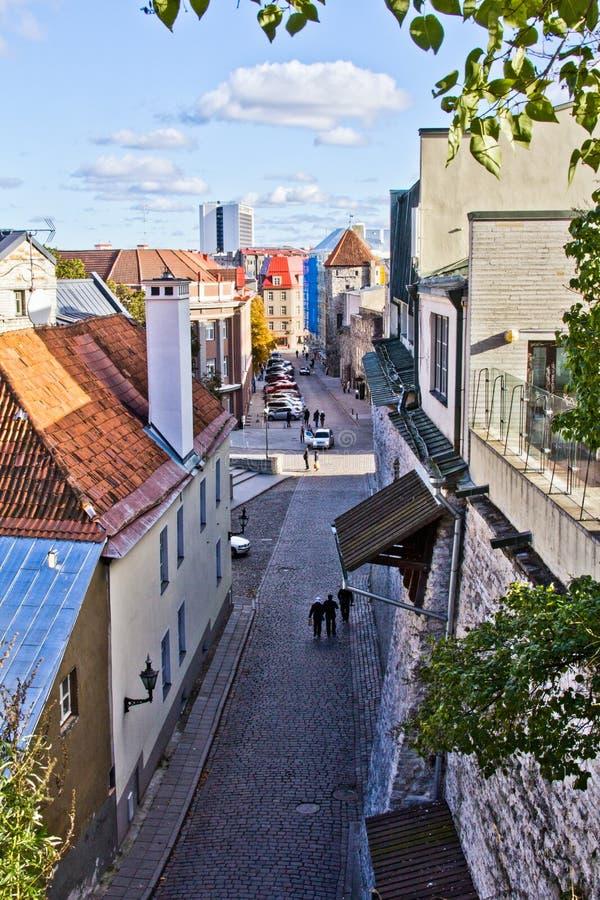 Στενή οδός στην παλαιά πόλη Ταλίν, Εσθονία Θέση τουριστών στην παλαιά πόλη στοκ εικόνα