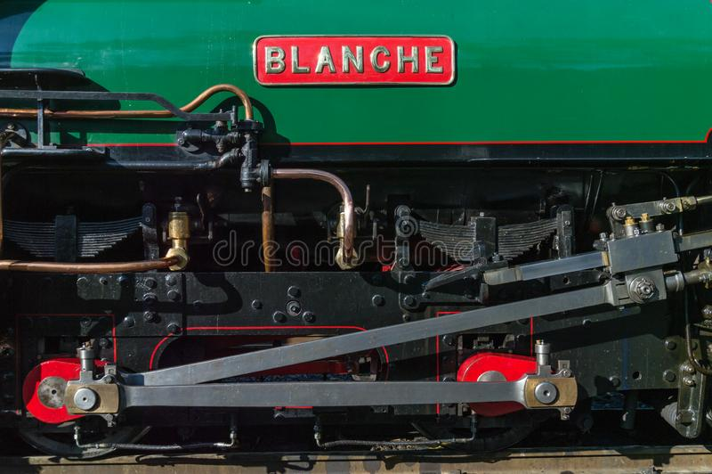 """Στενή πλάγια όψη της μηχανής ατμού """"Blanche """" στοκ φωτογραφία με δικαίωμα ελεύθερης χρήσης"""