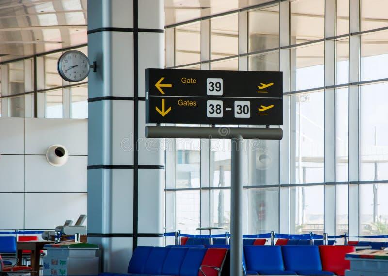Στεναγμός της πύλης στην αίθουσα αναχώρησης στον αερολιμένα, κανένας εσωτερικός στοκ φωτογραφία με δικαίωμα ελεύθερης χρήσης