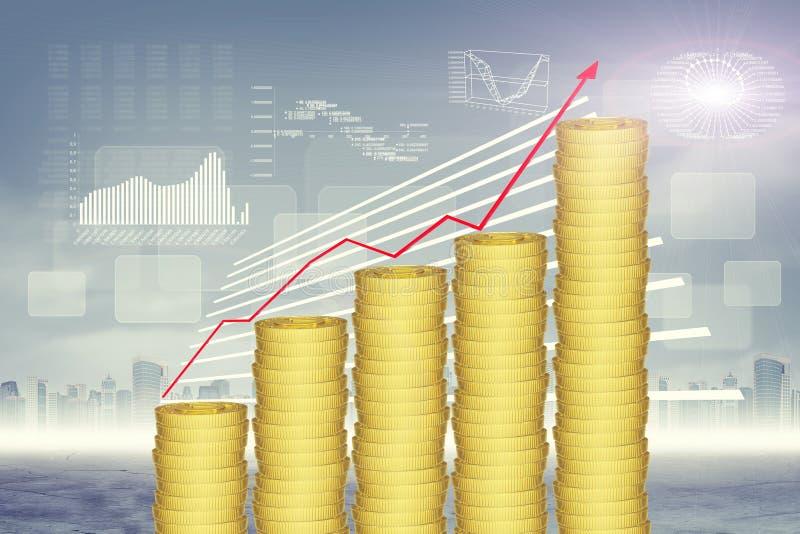 στενοί χρυσοί σωροί δολαρίων νομισμάτων επάνω απεικόνιση αποθεμάτων