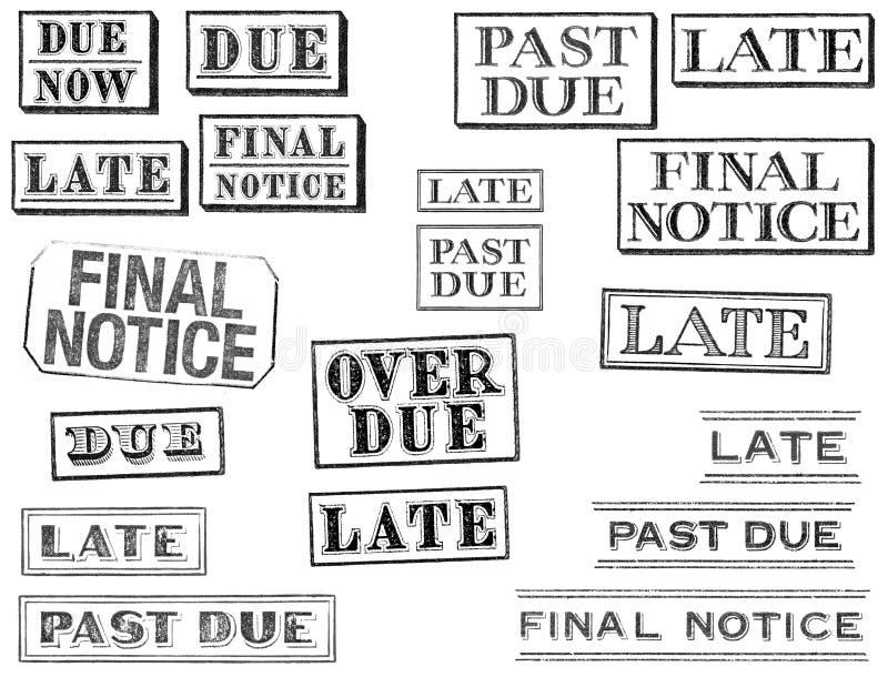 Στενοχωρημένα πρόσφατα, μετά από - οφειλόμενος, και τελικά γραμματόσημα ειδοποίησης διανυσματική απεικόνιση