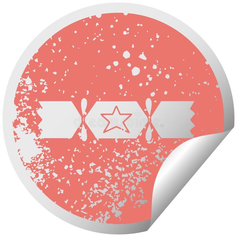 στενοχωρημένη κυκλική κροτίδα Χριστουγέννων συμβόλων αυτοκόλλητων ετικεττών αποφλοίωσης διανυσματική απεικόνιση