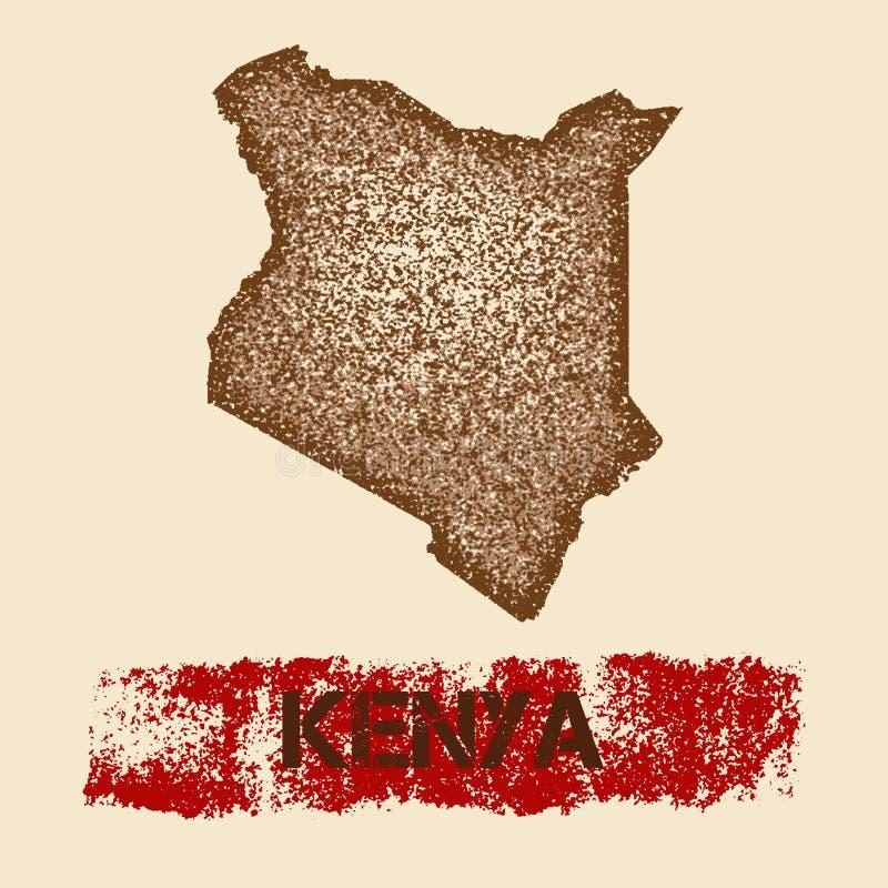 Στενοχωρημένος η Κένυα χάρτης ελεύθερη απεικόνιση δικαιώματος