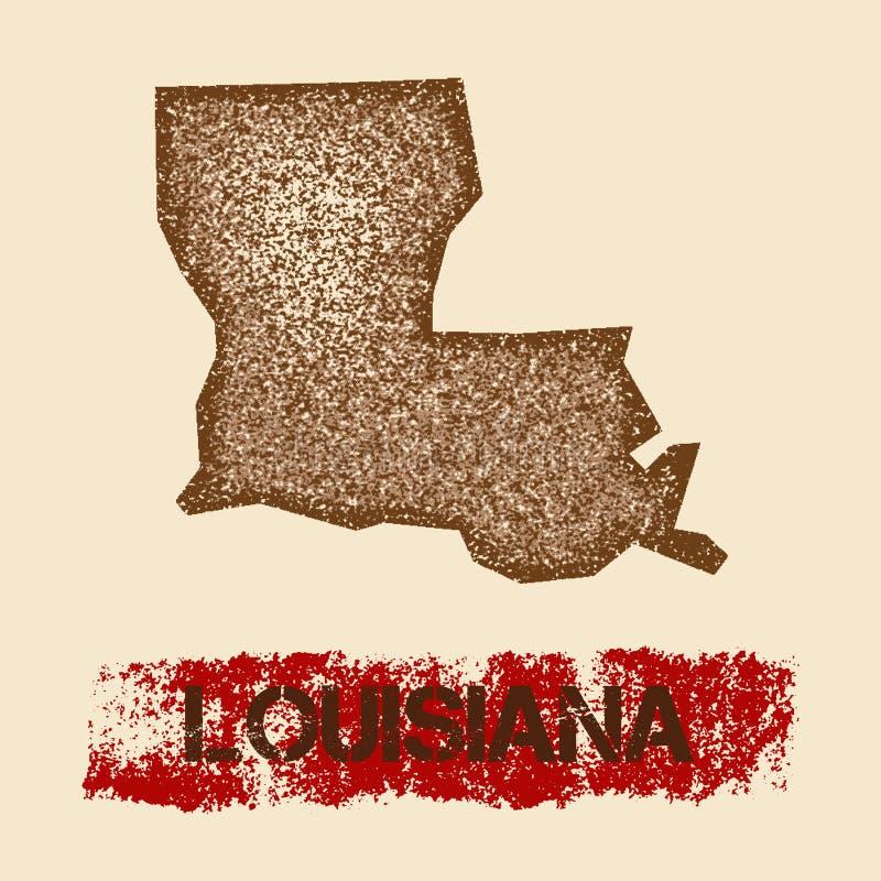 Στενοχωρημένος η Λουιζιάνα χάρτης ελεύθερη απεικόνιση δικαιώματος