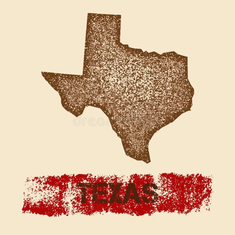 Στενοχωρημένος το Τέξας χάρτης διανυσματική απεικόνιση