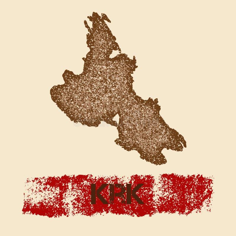Στενοχωρημένος Krk χάρτης ελεύθερη απεικόνιση δικαιώματος