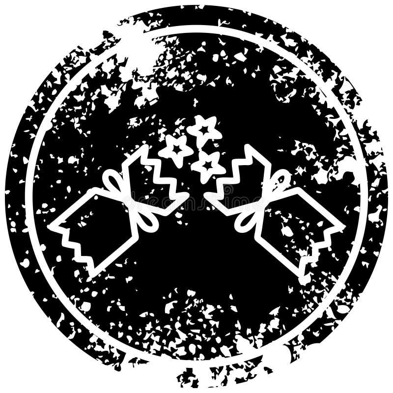 στενοχωρημένο κροτίδα εικονίδιο Χριστουγέννων απεικόνιση αποθεμάτων