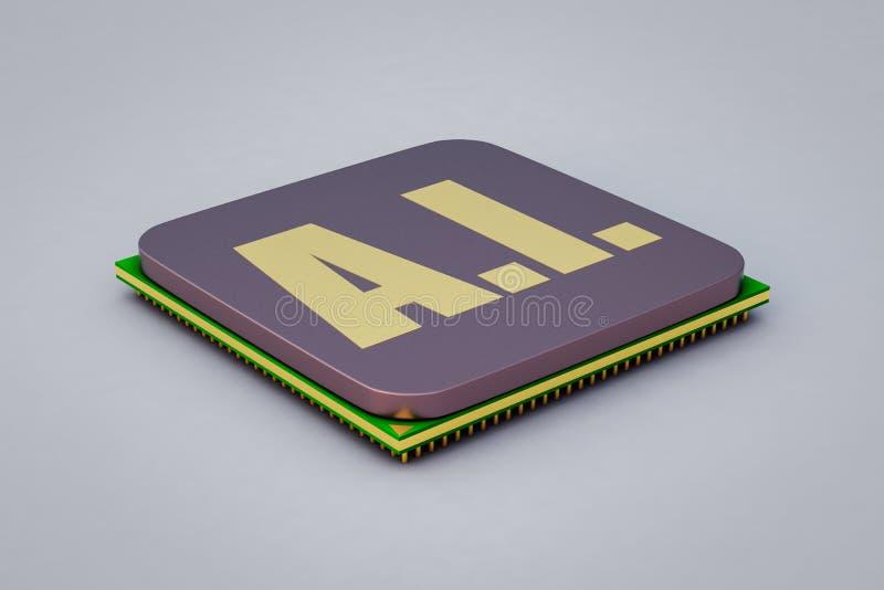 Στενός ένας επάνω ενός τσιπ τεχνητής νοημοσύνης απεικόνιση αποθεμάτων