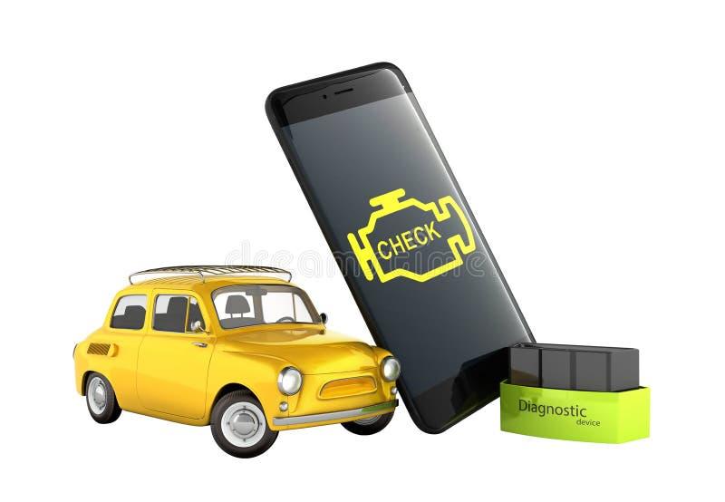 Στενός επάνω έννοιας αυτοκινήτων διαγνωστικός του ασύρματου ανιχνευτή OBD2 με το smartphone και του αναδρομικού αυτοκινήτου στην  απεικόνιση αποθεμάτων