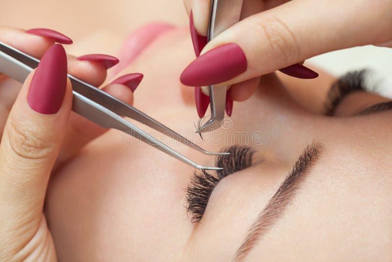 Στενός επάνω διαδικασίας αφαίρεσης Eyelash beautiful lashes long woman στοκ εικόνες