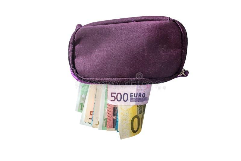 Στενός επάνω πορτοφολιών με τα ευρο- χρήματα που απομονώνονται στο άσπρο υπόβαθρο στοκ εικόνα με δικαίωμα ελεύθερης χρήσης