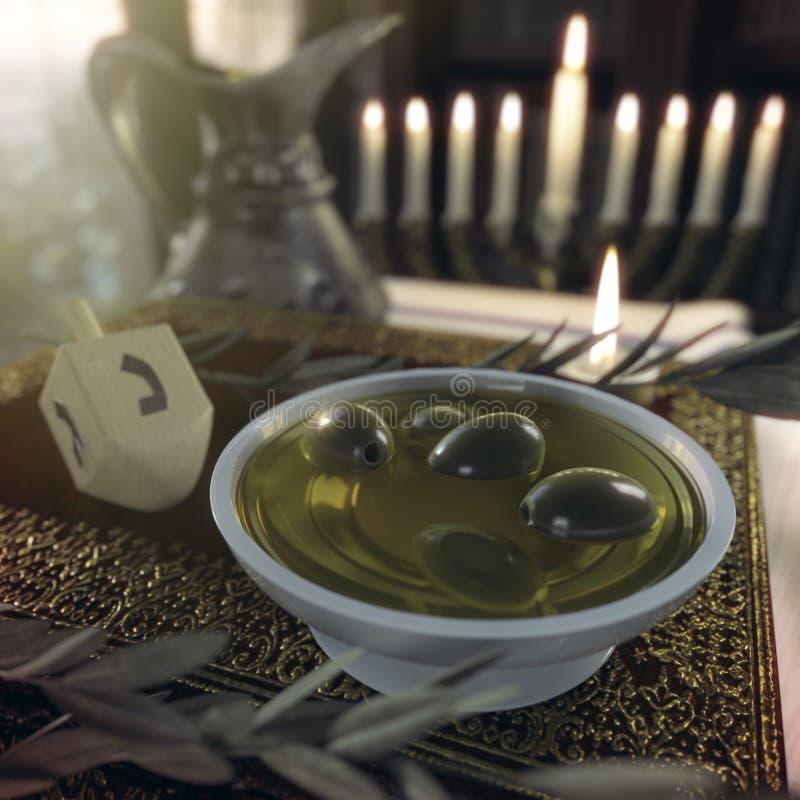 Στενός επάνω Hanukkah με τα κεριά, παλαιά βιβλία, περιστρεφόμενη κορυφή στοκ εικόνα με δικαίωμα ελεύθερης χρήσης