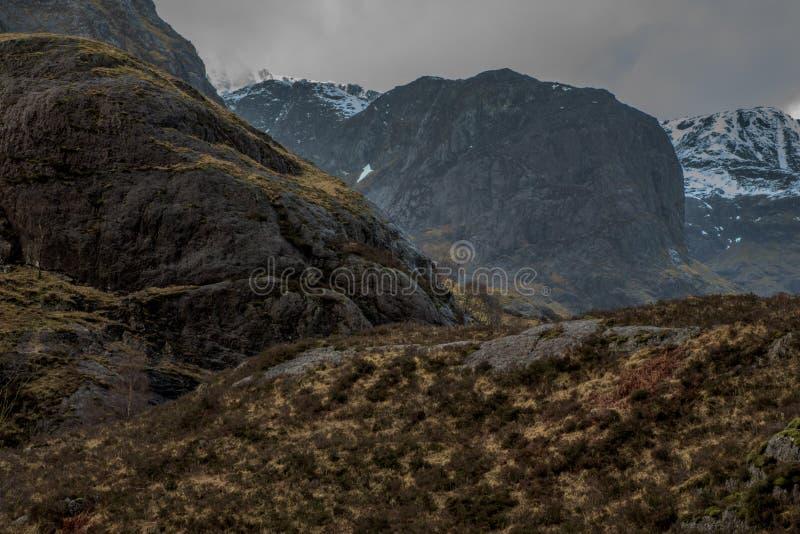 Στενός πυροβολισμός του βουνού Glencoe στη Σκωτία στοκ εικόνες