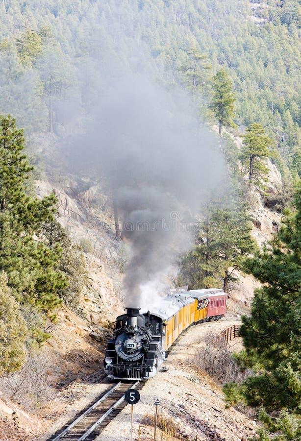 Στενός σιδηρόδρομος μετρητών του Ντάρανγκο Silverton, Κολοράντο, ΗΠΑ στοκ εικόνα με δικαίωμα ελεύθερης χρήσης