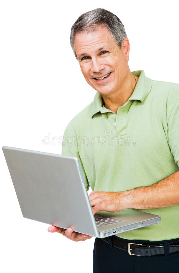 στενό άτομο lap-top που εργάζεται επάνω στοκ φωτογραφίες