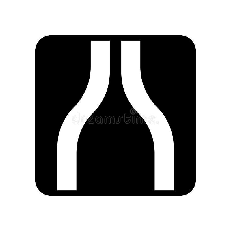 Στενό διάνυσμα οδικών εικονιδίων που απομονώνεται στο άσπρο υπόβαθρο, στενό οδικό σημάδι διανυσματική απεικόνιση
