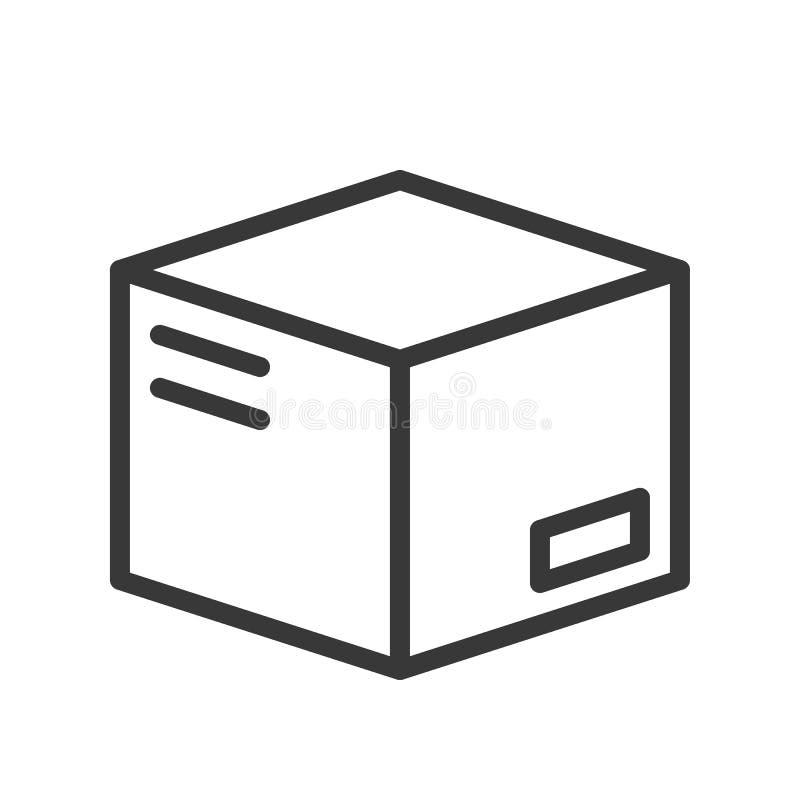 Στενό κιβώτιο με την ετικέτα, τη ναυτιλία και το λογιστικό εικονίδιο, σχέδιο περιλήψεων απεικόνιση αποθεμάτων