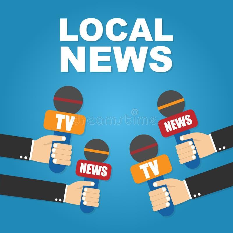 στενό λευκό μικροφώνων εκμετάλλευσης χεριών ανασκόπησης επάνω τοπικές ειδήσεις διανυσματική απεικόνιση
