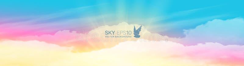 Στενό οριζόντιο διανυσματικό έμβλημα με το ρεαλιστικό ρόδινος-μπλε ουρανό ελεύθερη απεικόνιση δικαιώματος