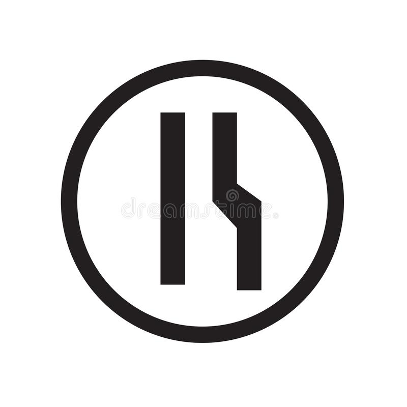 Στενό σωστό παρόδων σημαδιών σημάδι και σύμβολο εικονιδίων διανυσματικό που απομονώνονται στο άσπρο υπόβαθρο, στενή σωστή έννοια  διανυσματική απεικόνιση