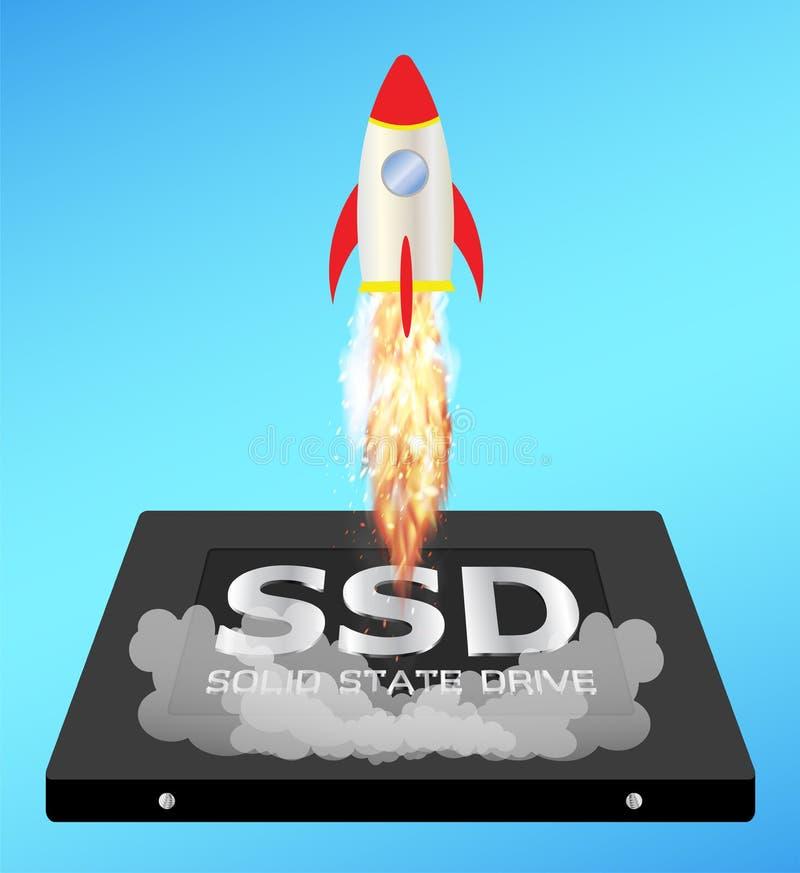 Στερεάς κατάστασης κίνηση ή ssd με έναν πύραυλο ώθησης ταχύτητας ελεύθερη απεικόνιση δικαιώματος