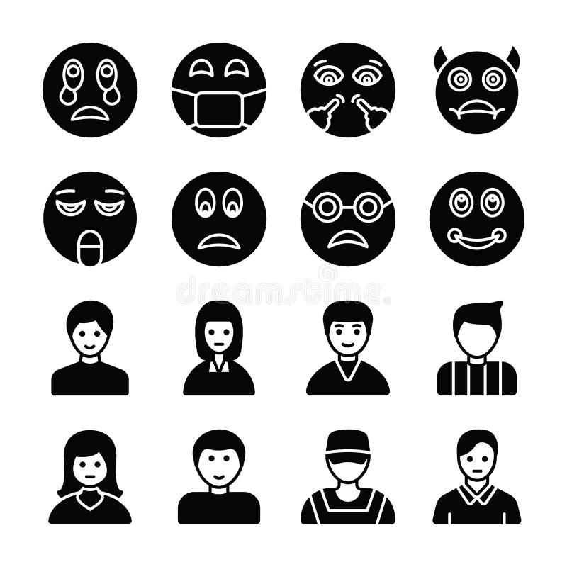 Στερεά εικονίδια Emojis και ειδώλων ελεύθερη απεικόνιση δικαιώματος