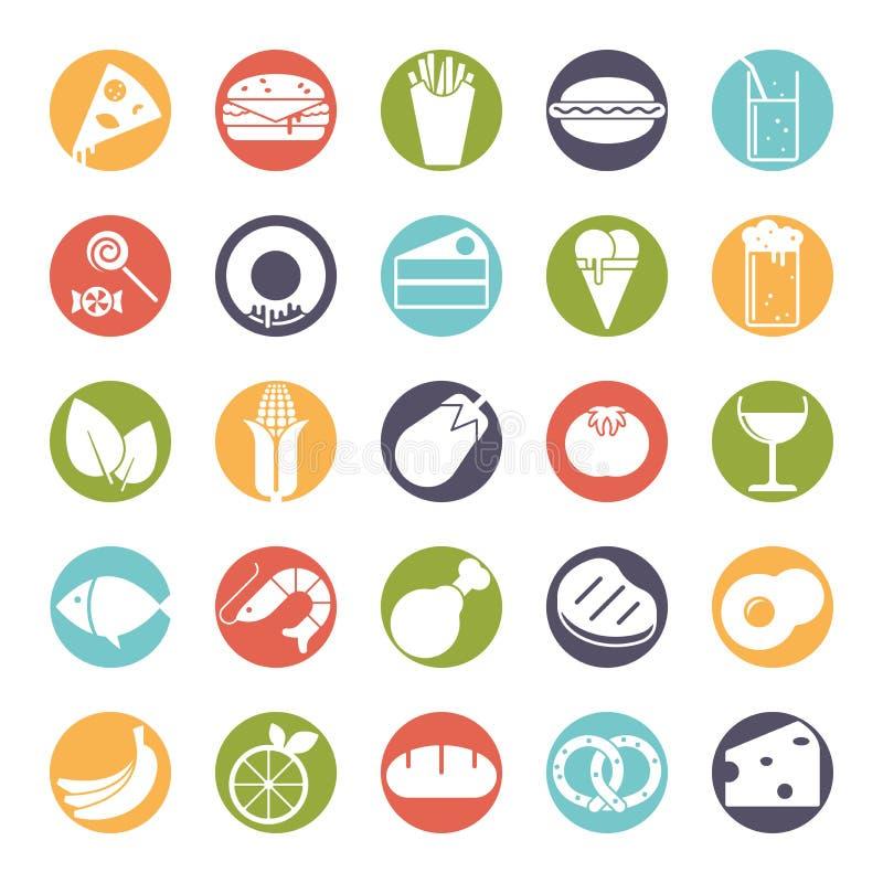 Στερεά στρογγυλά εικονίδια χρώματος τροφίμων καθορισμένα ελεύθερη απεικόνιση δικαιώματος