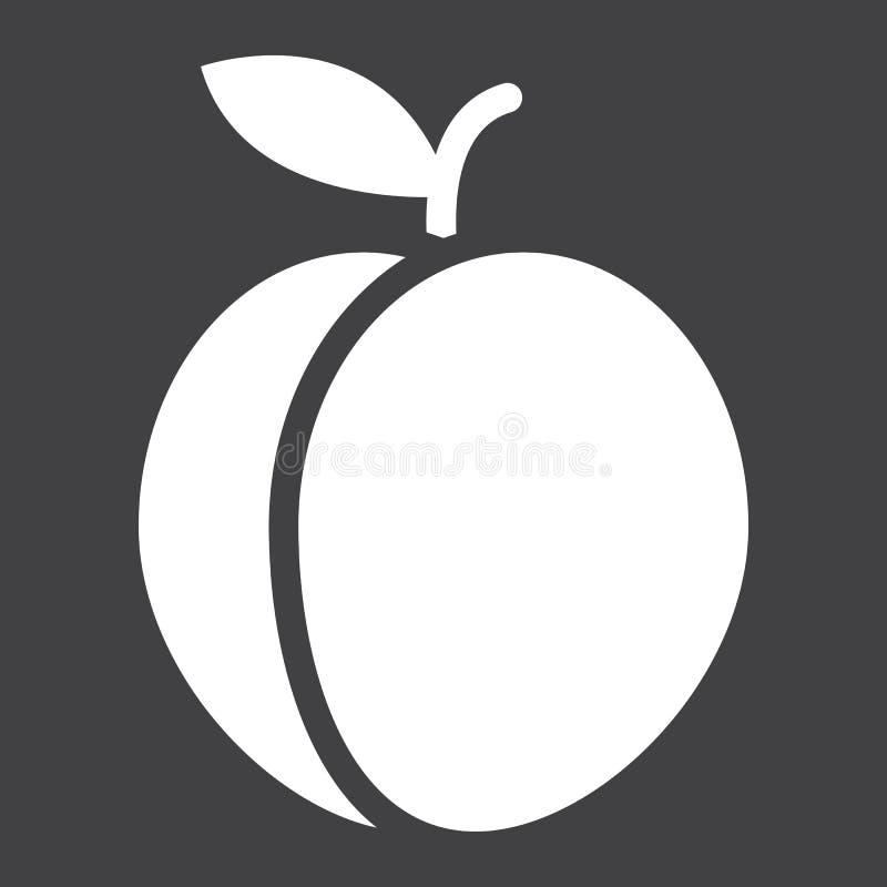 Στερεές εικονίδιο ροδάκινων, φρούτα και διατροφή, διάνυσμα γραφικό διανυσματική απεικόνιση