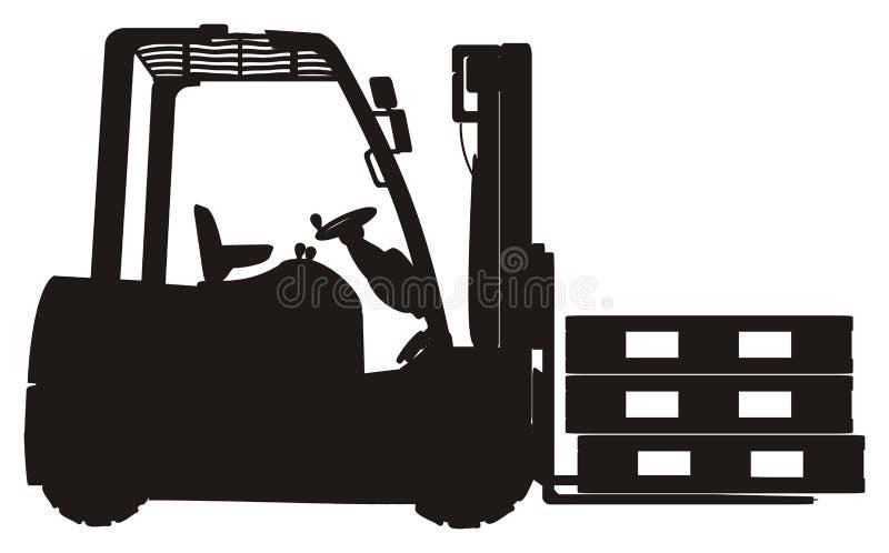 Στερεές μαύρες forklift και παλέτες διανυσματική απεικόνιση