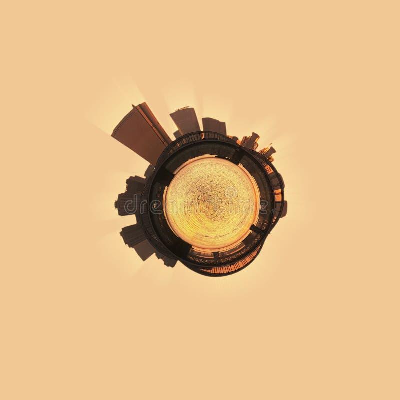 Στερεογραφικό πανόραμα λίγη προβολή πλανητών της πόλης της Σεούλ βραδιού στο ηλιοβασίλεμα στοκ φωτογραφία με δικαίωμα ελεύθερης χρήσης