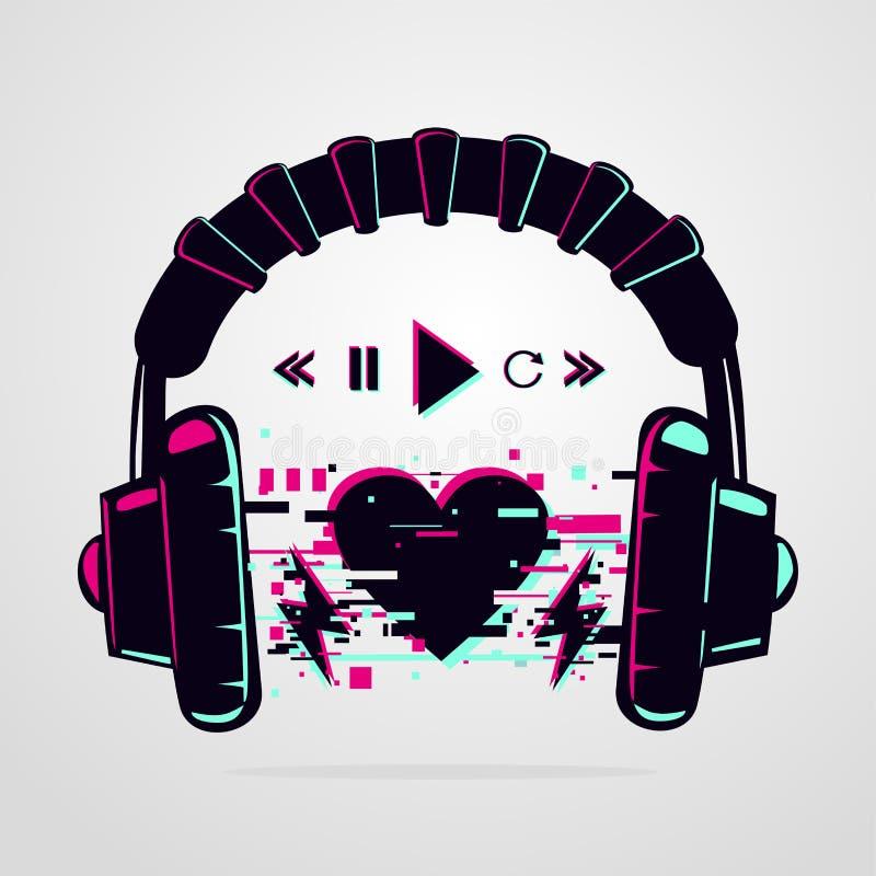 Στερεοφωνικά ακουστικά με εφέ λάμψης Ηλεκτρονική συσκευή μουσικής Εικονίδιο διανύσματος Φόντο νυχτερινού πάρτι διανυσματική απεικόνιση