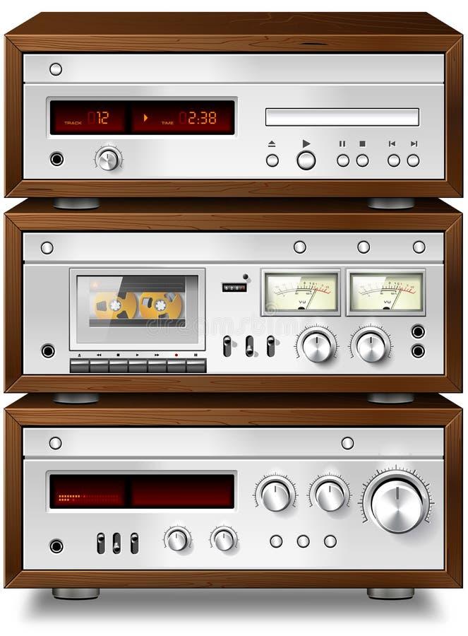 Στερεοφωνική ηχητική συμπαγής γέφυρα κασετών μουσικής με τον ενισχυτή και το CD π διανυσματική απεικόνιση